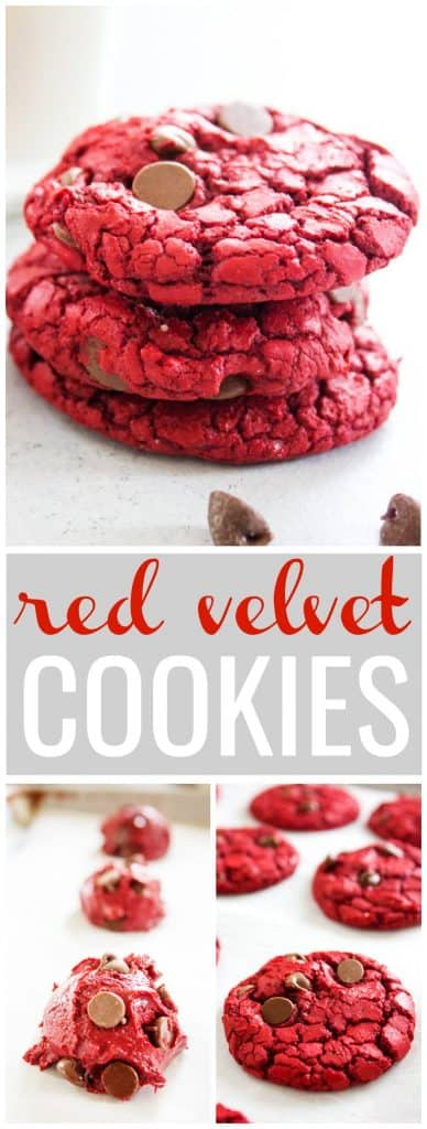 red velvet recipe, red velvet cookies, cookies, chocolate chips