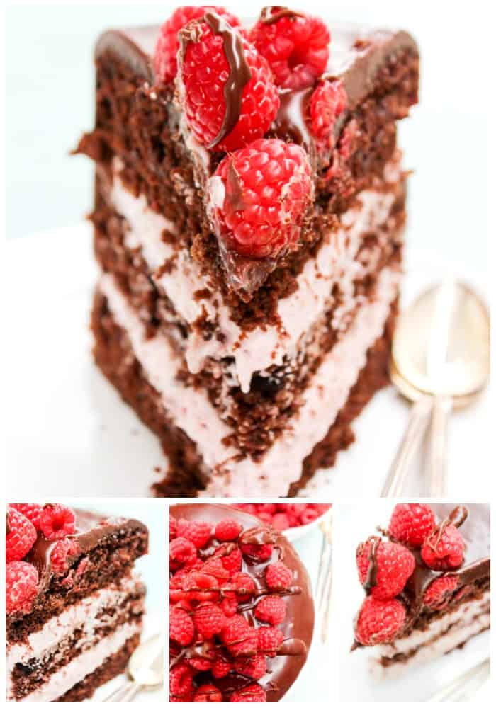This CHOCOLATE RASPBERRY LAYER CAKE layers of chocolate cake & raspberry cream; ganache & fresh raspberries, it's gorgeous & incredibly delicious.