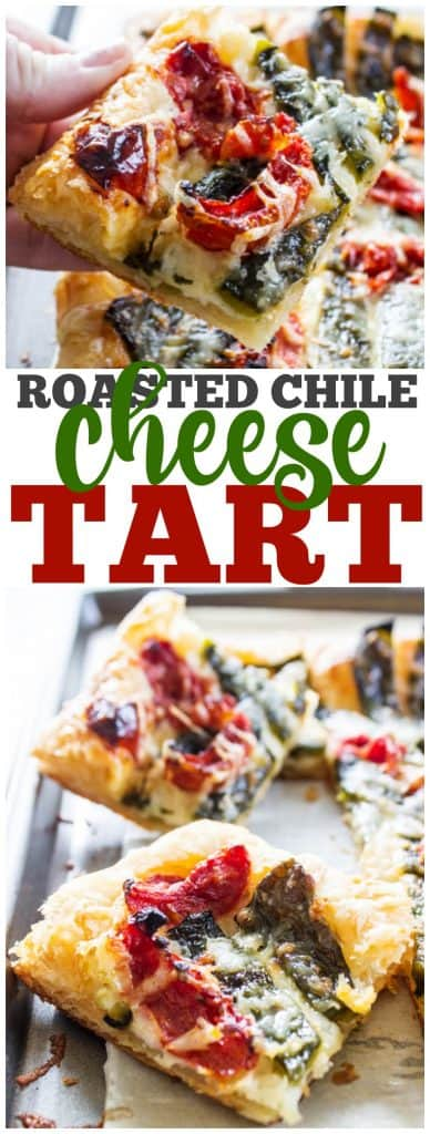Roasted Chile Cheese Tart - an impressive and incredibly easy tart. Load with flavor with roasted chiles, tomatoes, and cheese; making a great appetizer.