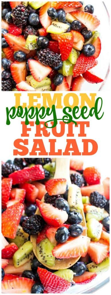 lemon poppy seed fruit salad with blackberries, strawberries, blueberries, kiwi and lemon glaze