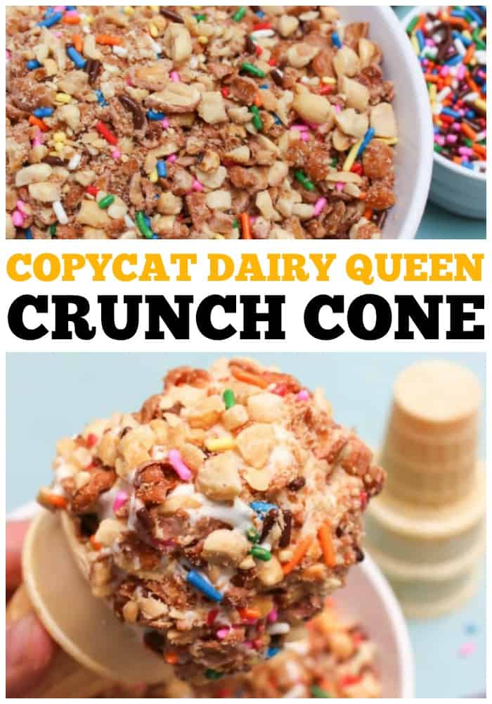 COPYCAT DAIRY QUEEN CRUNCH CONE with ice cream cone and dairy queen topping