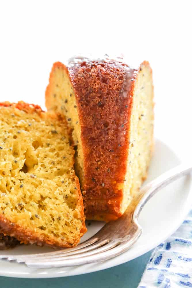 Poppy Seed Cake slice and fork