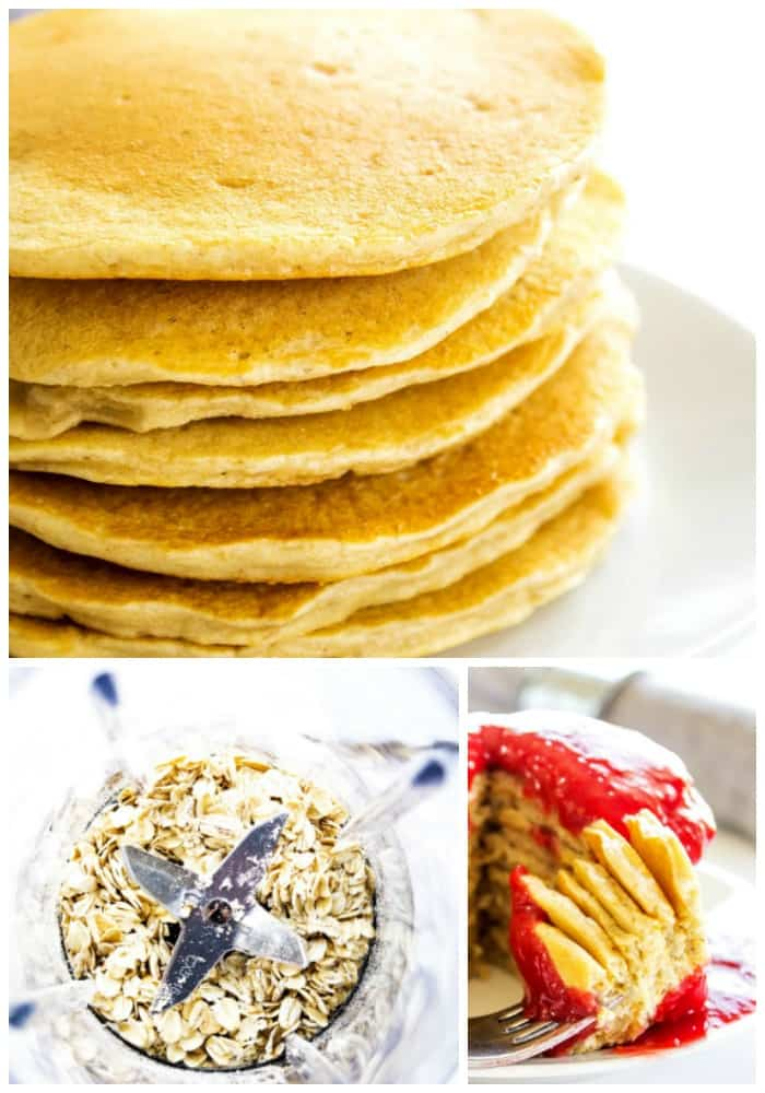 oatmeal pancake recipes with whole oats and raspberry peach sauce