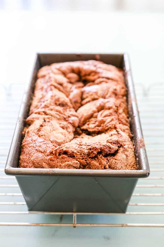 Chocolate Cinnamon Bread in bread pan