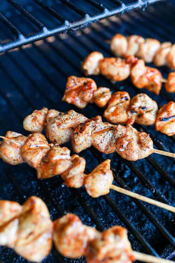 Maple Barbecue Chicken Kabobs on the grill..