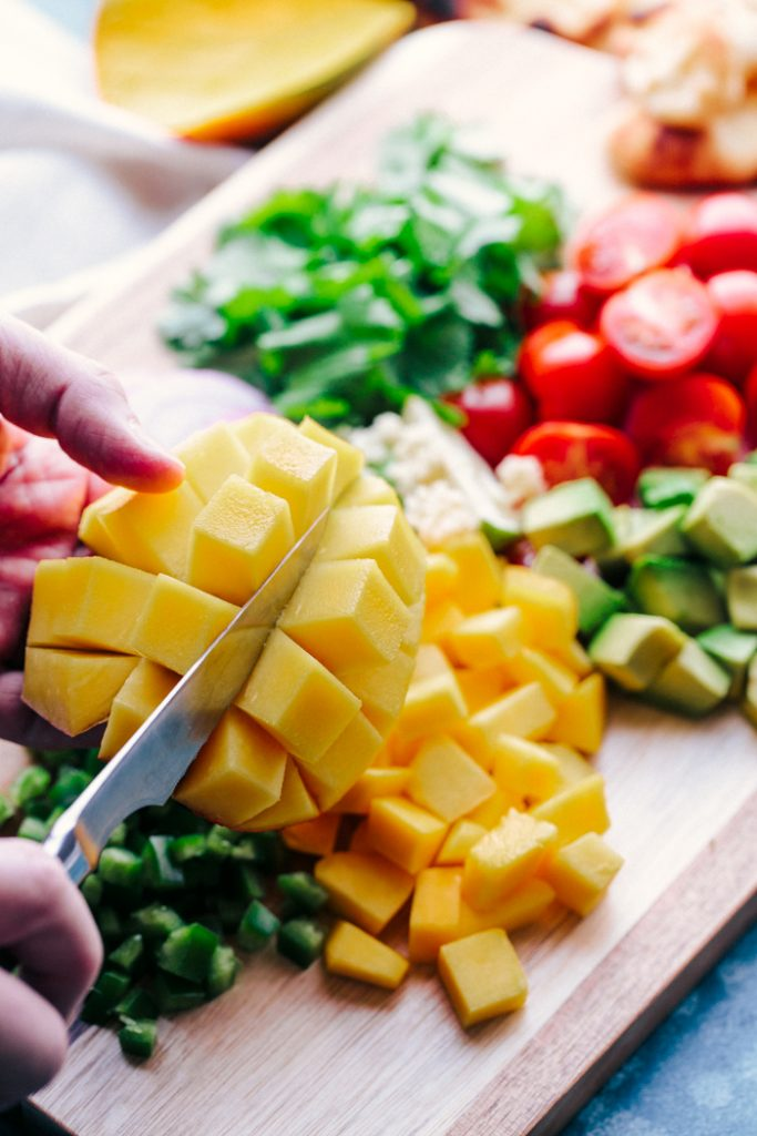 Mango salsa, cutting mango and other ingredients