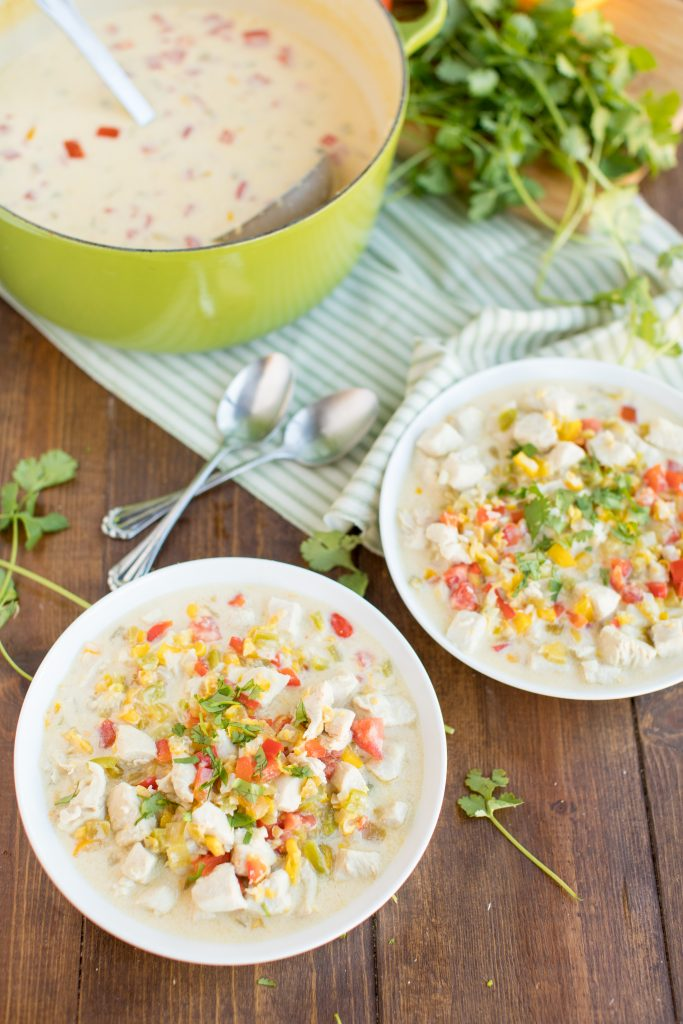 Mexican Corn Chowder on table.