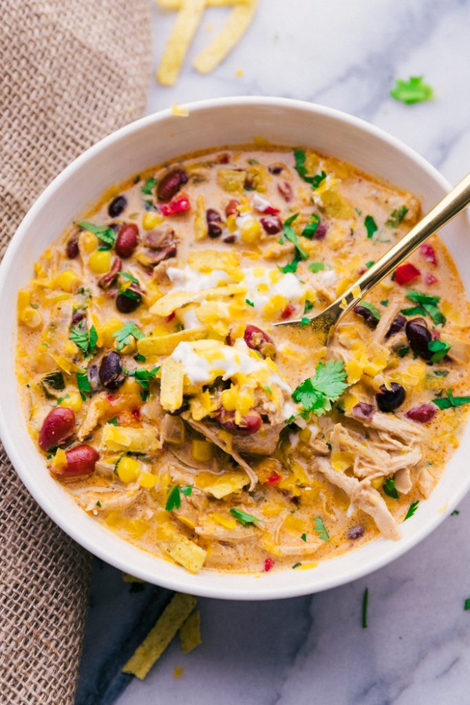 Chicken Tortilla Soup Crock Pot spoon