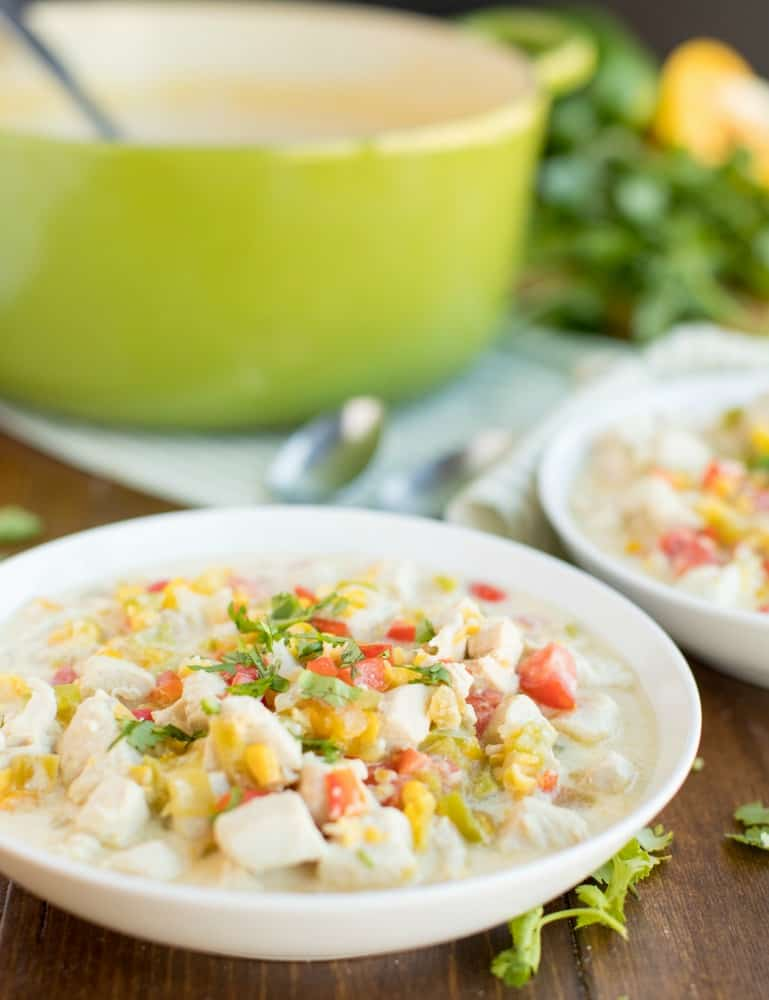 Mexican Corn Chowder white bowl serving