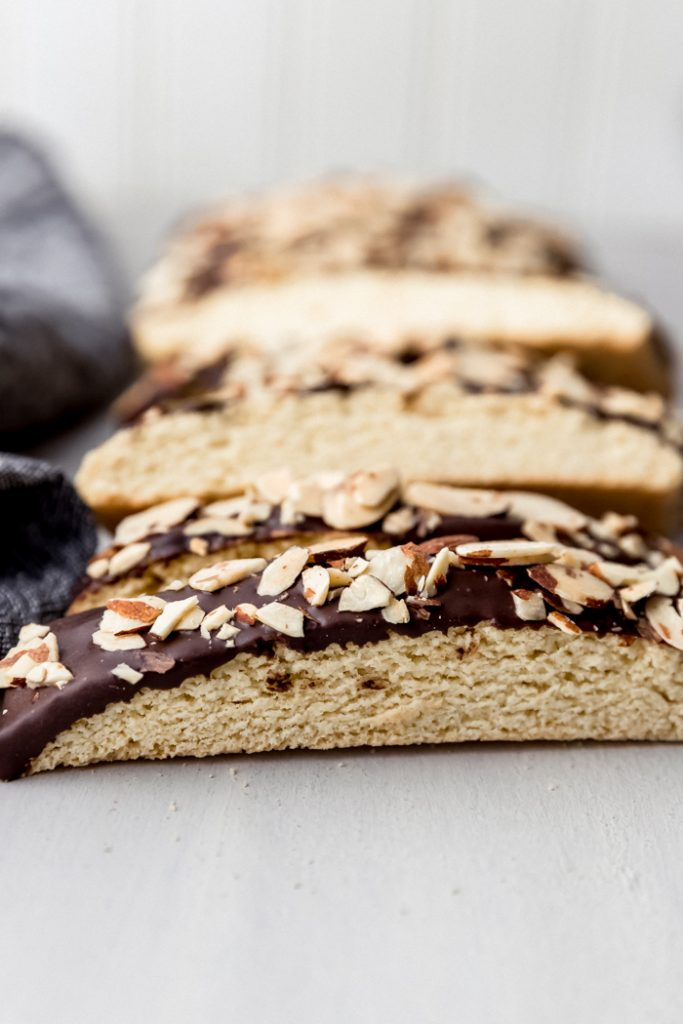 biscotti with dark chocolate and almond slivers