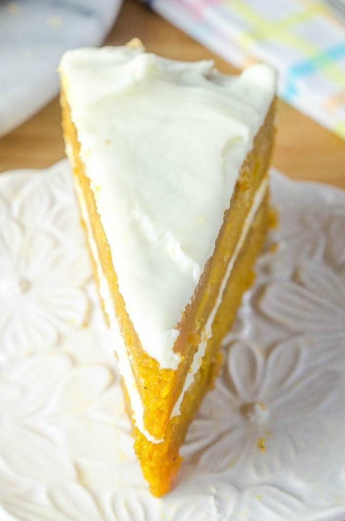 slice of carrot cake on white plate