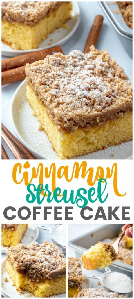 Cinnamon Streusel Coffee Cake - A light & fluffy golden cake topped with a classic cinnamon, brown sugar streusel topping.