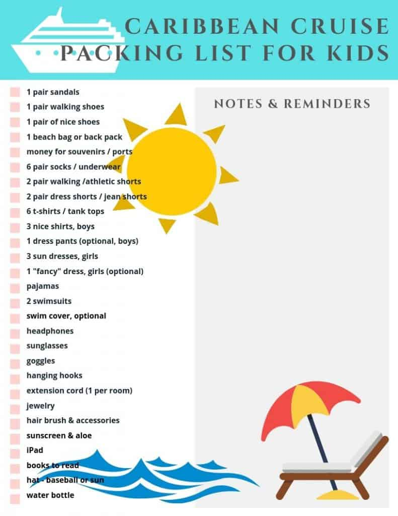 photo regarding Cruise Packing List Printable named Caribbean Cruise Packing Listing For Children - A Sprint of Sanity