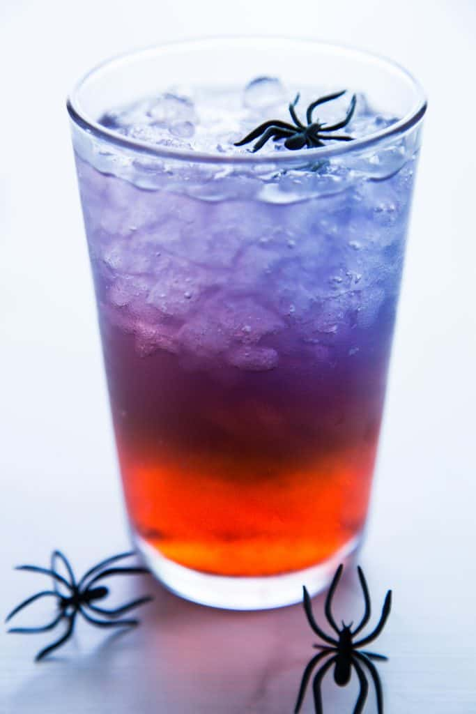 layered punch - red, blue and white with black spiders