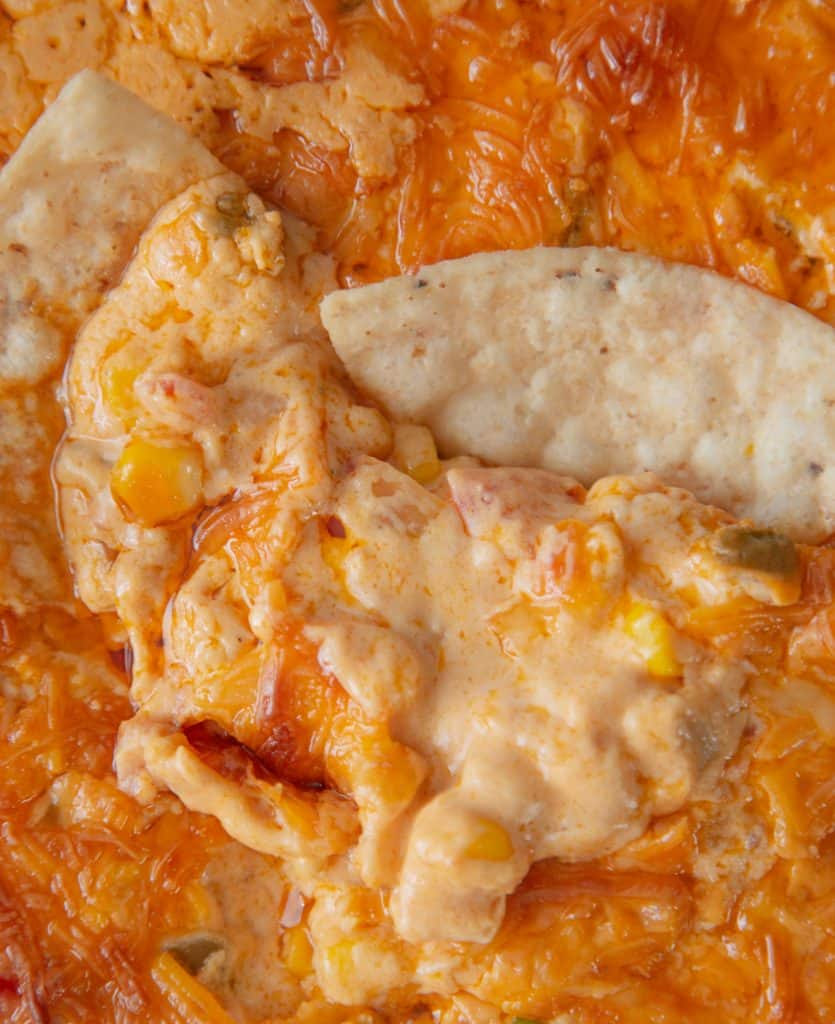 cheesy corn dip with chips